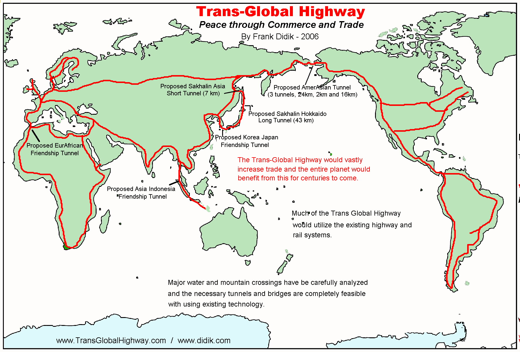 World Map Bering Strait.Trans Global Highway A Proposal By Frank X Didik May 2006